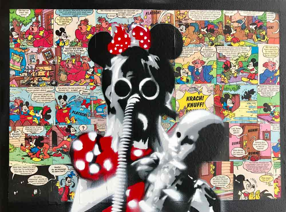 Girl with gas mask and toy with comics background